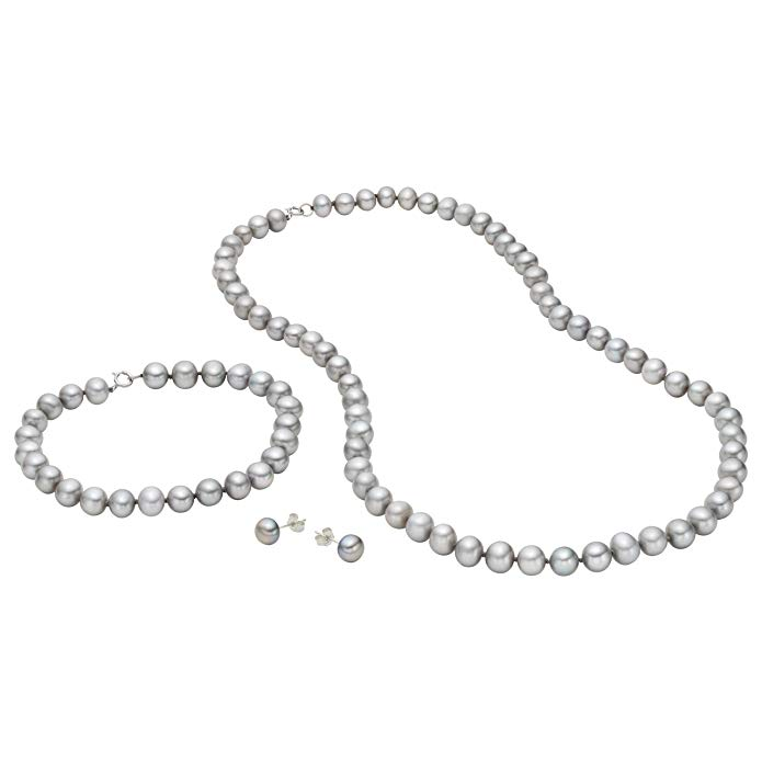 Doorbuster Deal! Sterling Silver 6.5-7mm Cultured Freshwater Dyed-grey Pearl Necklace, Bracelet and Earring Set