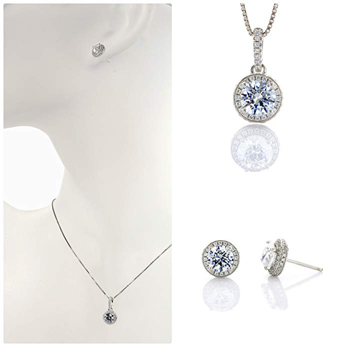 NANA S-Silver &14k Gold Halo Pendant & Earrings set Each w/ 6.5mm Swarovski Zirconia. Platinum Plated