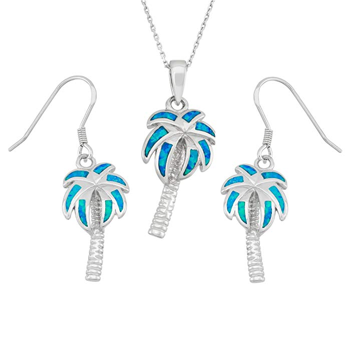 Sterling Silver Created Opal Palm Tree Earrings and Pendant Set with 18