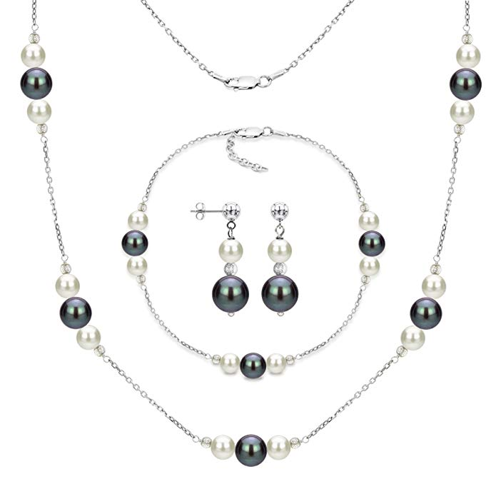 Sterling Silver 6mm White and 10mm Dyed-black Freshwater Cultured Pearl Station Necklace Jewelry Set