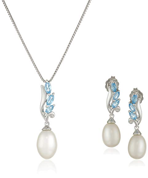 Sterling Silver Swiss Blue Topaz and Freshwater Cultured Pearl Necklace and Earrings Jewelry Set