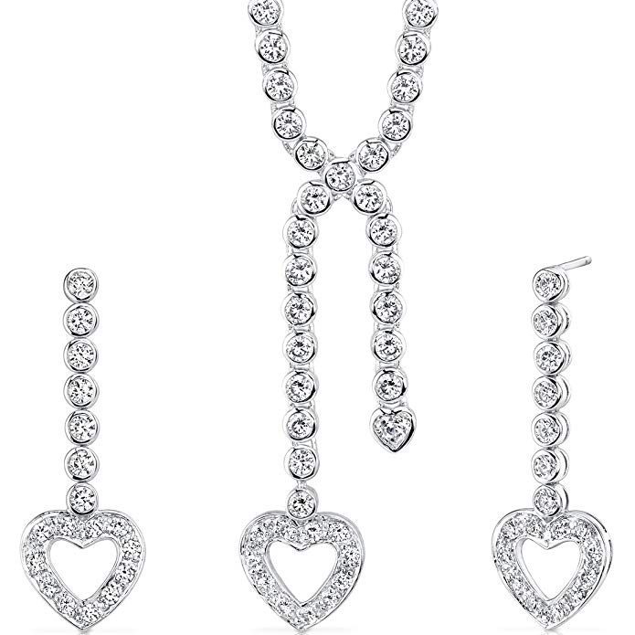 Cubic Zirconia Heart Lariat Tennis Necklace Earrings Set Sterling Silver Rhodium Nickel Finish