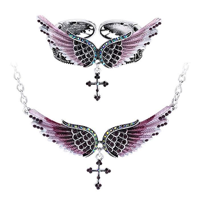 Szxc Jewelry Women's Crystal Angel Wings Cross Pendant Necklace Bangle Bracelet Biker Jewelry Sets