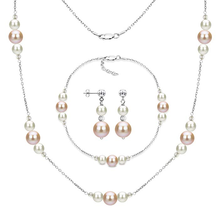 Sterling Silver 6mm White and 10mm Pink Freshwater Cultured Pearl Station Necklace Jewelry Set
