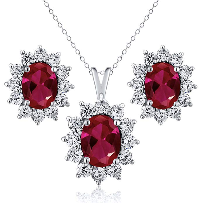2.75 Ct Oval Red Created Ruby 925 Sterling Silver Pendant Earrings Set with 18