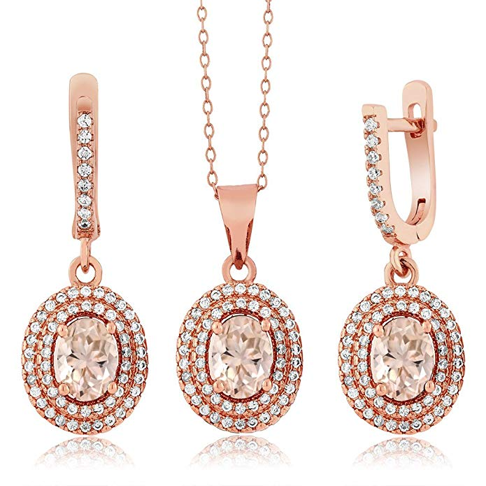 3.58 Ct Oval Peach Morganite 18K Rose Gold Plated Silver Pendant Earrings Set