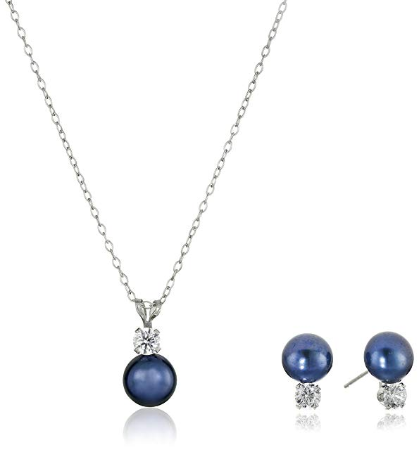 Sterling Silver Cubic Zirconia 7-8mm Freshwater Cultured Pearl Stud Earrings and Pendant Necklace Jewelry Set