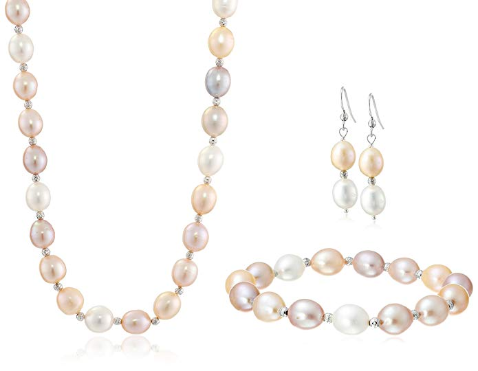 Sterling Silver 9-9.5mm Multi-Pink Freshwater Cultured Pearl Necklace, Bracelet and Hoop Earrings Set