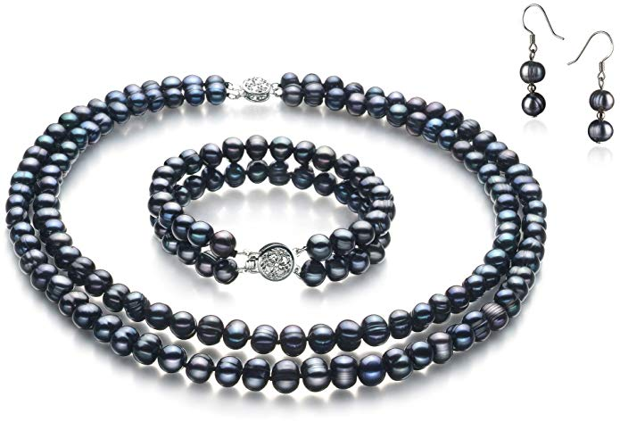 Julika Black 6-7mm Double Strand A Quality Freshwater Cultured Pearl Set
