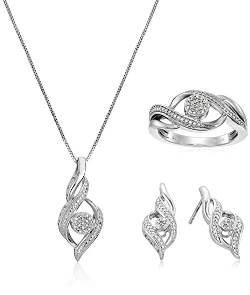 Sterling Silver Diamond Ring Size 7, Earrings, and Pendant Necklace Jewelry Set (1/8 cttw, J-K Color, I2-I3 Clarity)