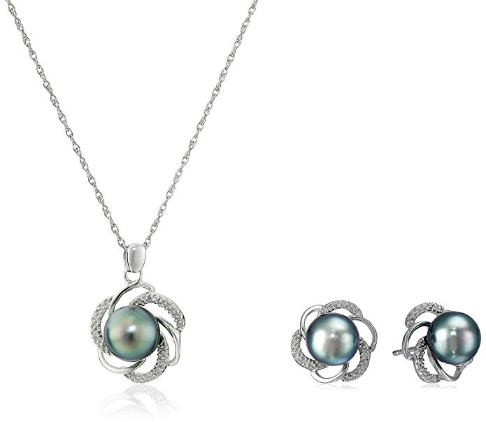 Sterling Silver, Tahitian Cultured Black Pearl, and Diamond Pendant Necklace and Earrings Jewelry Set