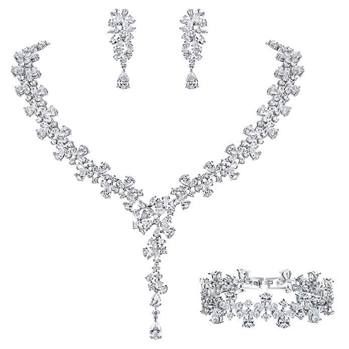 EVER FAITH Women's CZ Luxury Bridal Flower Teardrop Necklace Earrings Bracelet Set Clear Silver-Tone