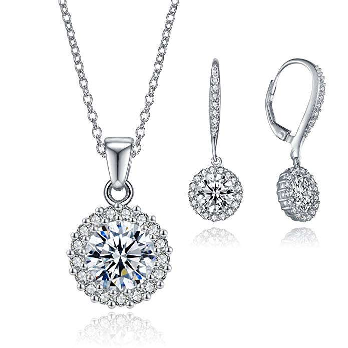 Round-Cut Cubic Zirconia Halo Collection by Lux and Glam- Stud Earring, Drop Earrings, Pendant Necklace, Necklace and Earring Jewelry Sets