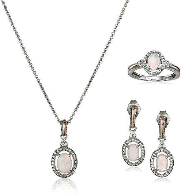 14K Rose Gold over Sterling Silver Created Opal with Created White Sapphire Pendant Necklace, Earrings and Ring Box Set