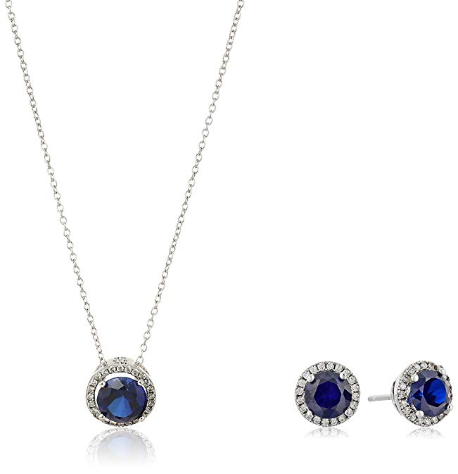 Sterling Silver Created Blue Sapphire and Cubic Zirconia Round Halo Earrings and Pendant Necklace Jewelry Set, 18