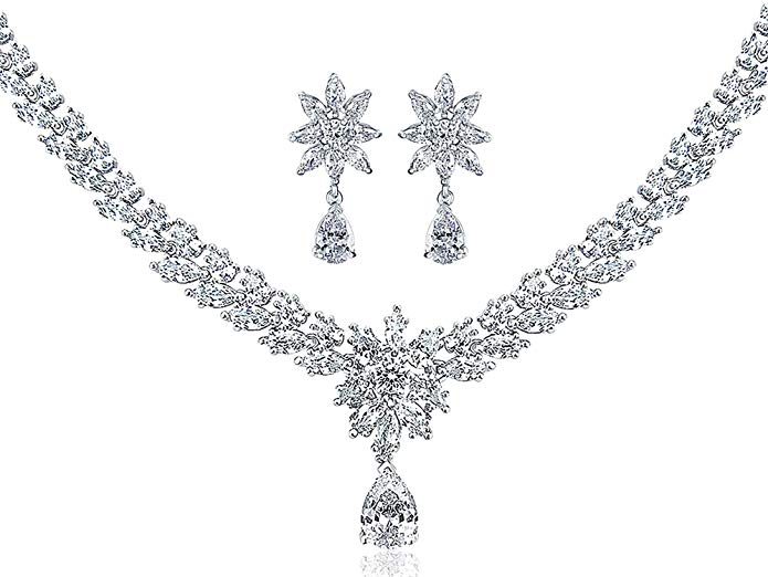 CZ Flower Bridal Necklace Dangle Earrings Set Rhodium Plated