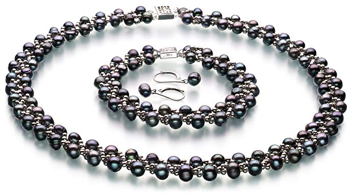 Weave Black 6-7mm A Quality Freshwater Cultured Pearl Set