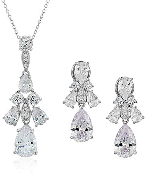 Sterling Silver Cubic Zirconia Pendant Necklace and Drop Earrings Bridal Jewelry Set, 18