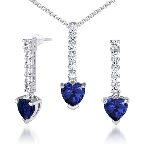 Created Sapphire Pendant Earrings Necklace Sterling Silver Rhodium Nickel Finish Heart Shape 3.75 Carats