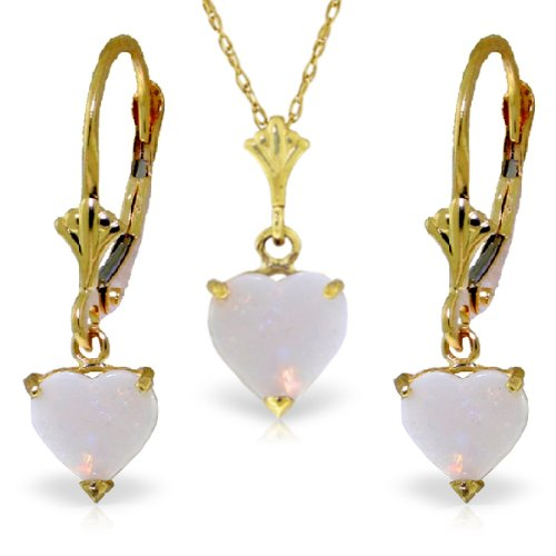 14K Yellow Gold Jewelry Set - Necklace and Earrings w/Natural Heart-shaped Opals