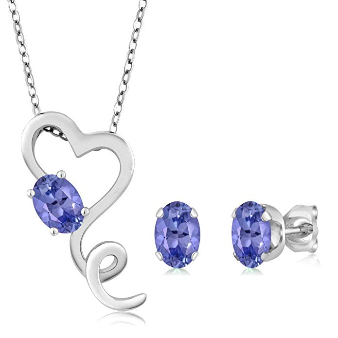 1.95 Ct Oval Blue Tanzanite 925 Sterling Silver Pendant Earrings Set