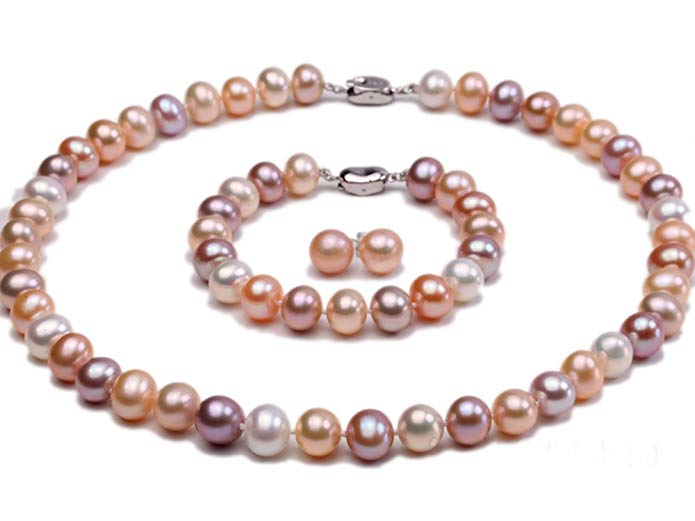 JYX 9mm AAA Round White Pink and Lavender Freshwater Pearl Necklace Bracelet and Earring Set