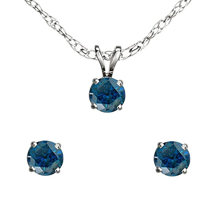 Dazzlingrock Collection Round Blue Diamond Ladies Stud Earring & Pendant Set