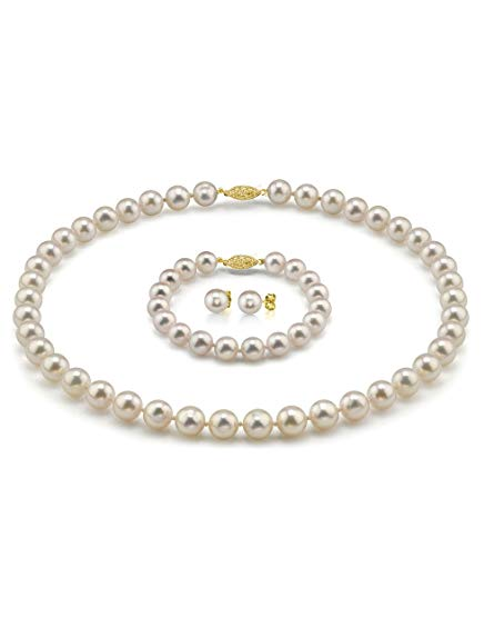 14K Gold 7.0-7.5mm Hanadama White Akoya Cultured Pearl Necklace, Bracelet & Earrings Set, 18
