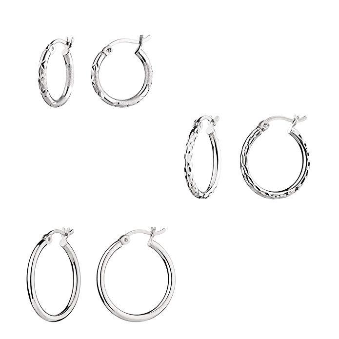 G&H Sterling Silver Small Hoop Earrings Set of 3