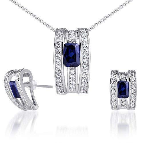 Created Sapphire Pendant Earrings Necklace Sterling Silver Rhodium Nickel Finish Radiant Cut 3.00 Carats