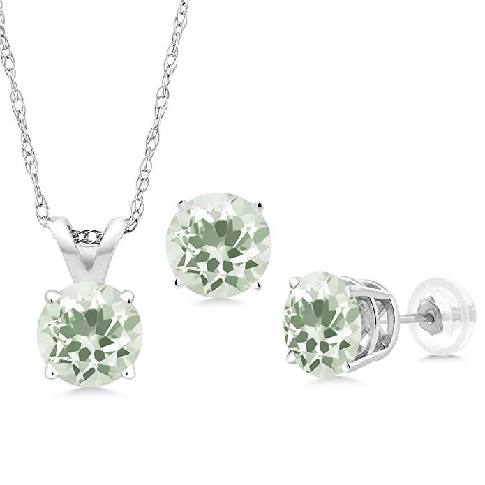 2.85 Ct Round Green Prasiolite 14K White Gold Pendant Earrings Set With Chain