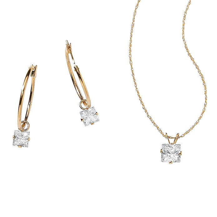Princess-Cut White Cubic Zirconia 10k Yellow Gold 2-Piece Necklace and Drop Earrings Set