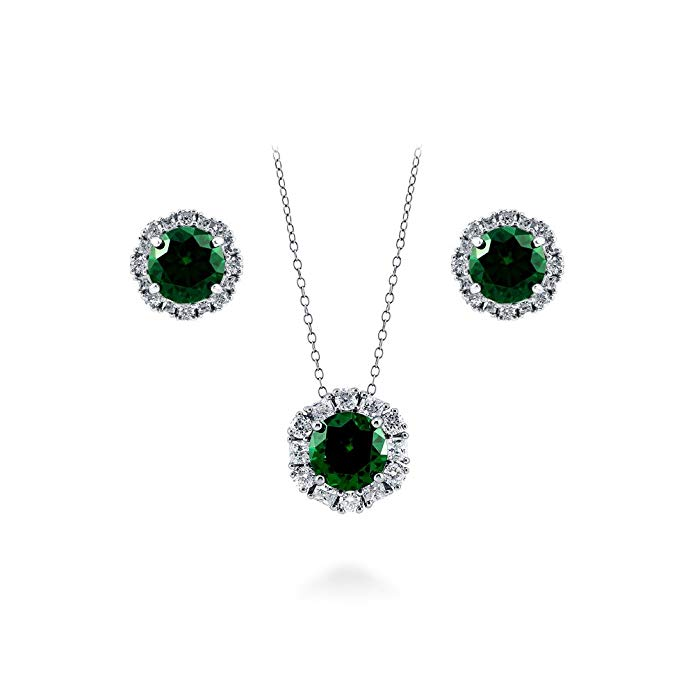 BERRICLE Rhodium Plated Sterling Silver Cubic Zirconia CZ Art Deco Halo Necklace and Earrings Set