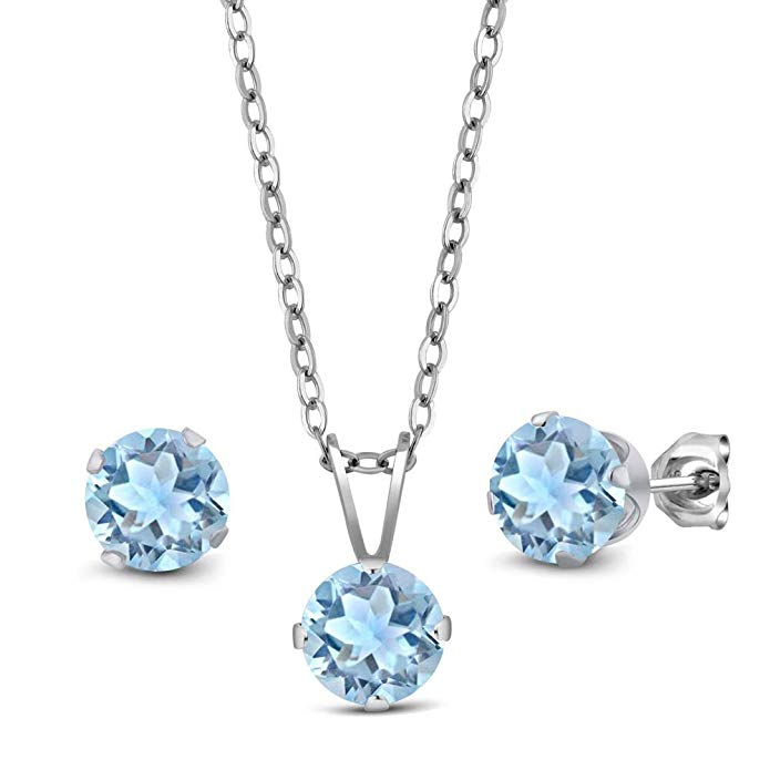 2.25 Ct Sky Blue Aquamarine 925 Sterling Silver Pendant Earrings Set With Chain