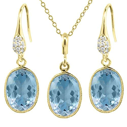 21.00 Ct Blue Topaz 14x10mm Oval Shape Gold Plated Silver Jewelry Set 18