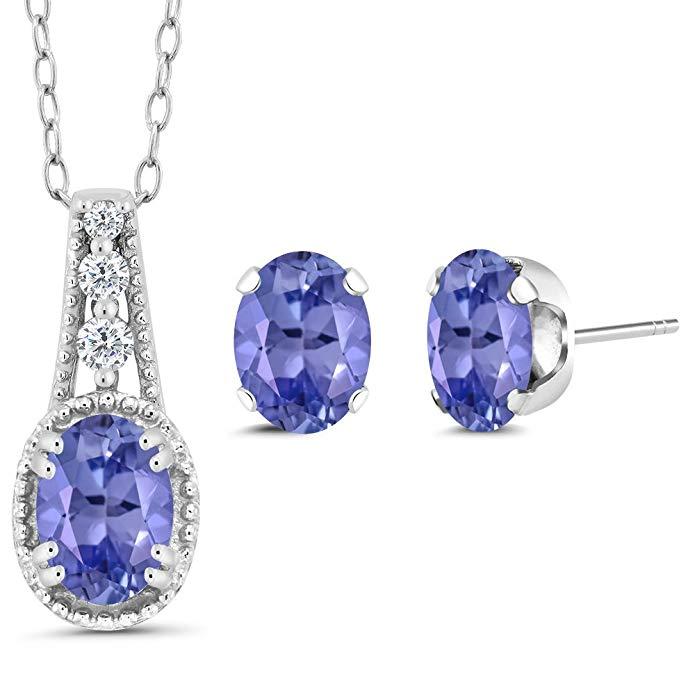 1.43 Ct Oval Blue Tanzanite 925 Sterling Silver Pendant Earrings Set