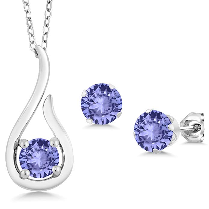 1.38 Ct Blue Tanzanite AAAA 925 Sterling Silver Pendant Earrings Set With Chain