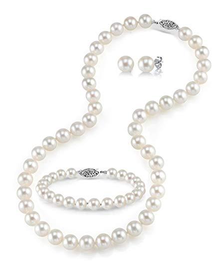 14K Gold 7-8mm White Freshwater Cultured Pearl Necklace, Bracelet & Earrings Set, 17