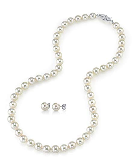 14K Gold 7.0-7.5mm White Akoya Cultured Pearl Necklace & Matching Earrings Set, 18