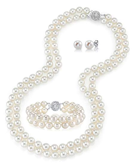 14K Gold White Freshwater Double Strand Cultured Pearl Necklace, Bracelet & Earrings Set - AAAA Quality, 19-20
