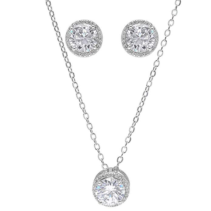 Bridesmaid Gifts - Pretty Halo Cubic Zirconia Necklace & Earrings Set (18