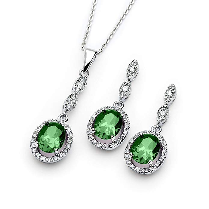Sterling Silver Oval Cut Prong Set Green CZ Drop Dangle May Birth Month Earrings & Necklace Set
