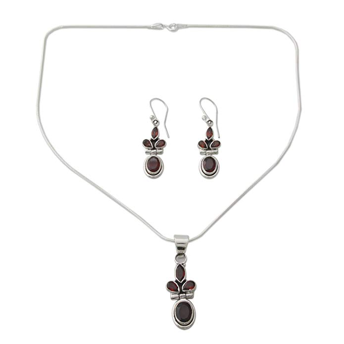 NOVICA Garnet .925 Sterling Silver Jewelry Set, 16.25