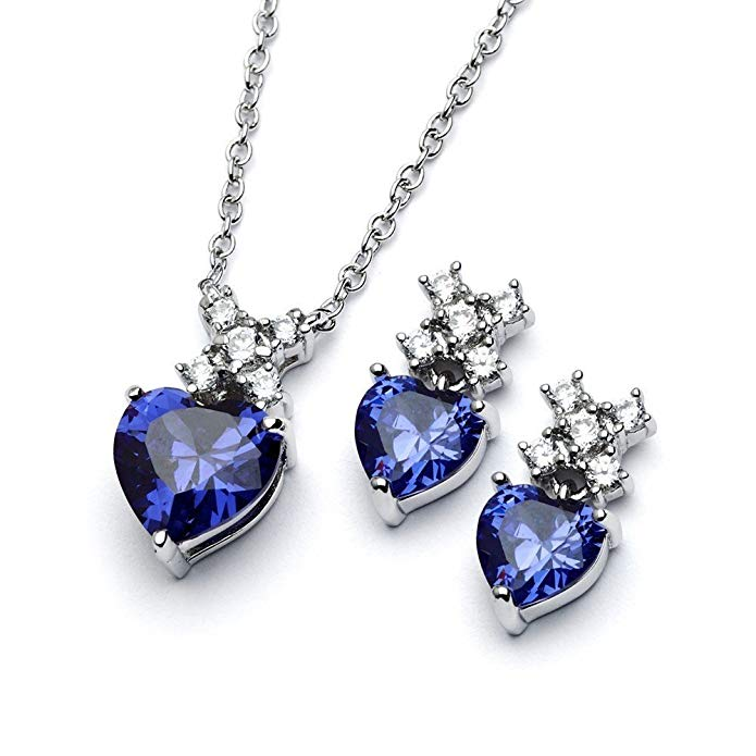 Sterling Silver Heart Cut Prong Set Blue CZ September Birth Month Earrings & Necklace Set