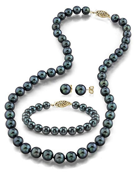 14K Gold 6.5-7.0mm Black Akoya Cultured Pearl Necklace, Bracelet & Earrings Set, 18