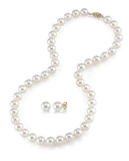 14K Gold 7-8mm Freshwater Cultured Pearl Necklace & Earrings, 16