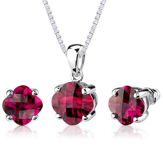 Created Ruby Pendant Earrings Set Sterling Silver 10.00 Carats Lily Cut