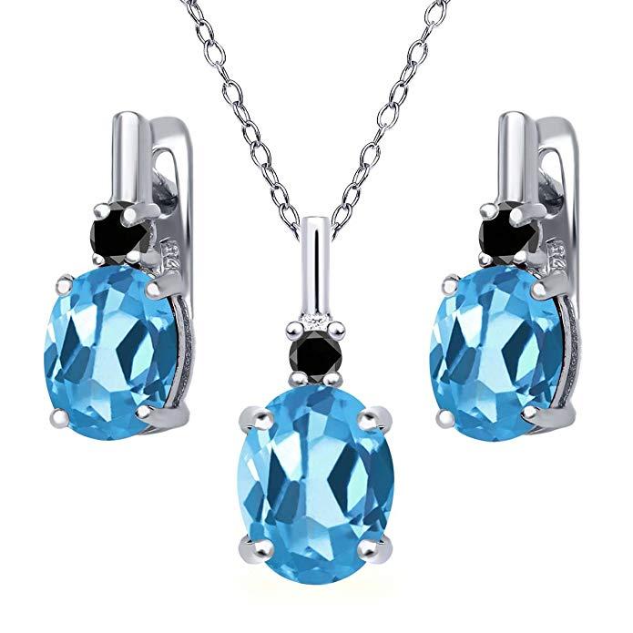 6.67 Ct Swiss Blue Topaz Black Diamond 925 Sterling Silver Pendant Earrings Set