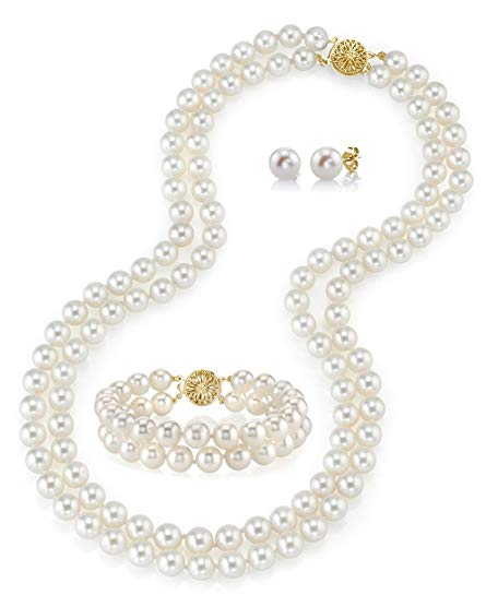 14K Gold White Freshwater Cultured Double Strand Cultured Pearl Necklace, Bracelet & Earrings Set - AAA Quality, 16-17