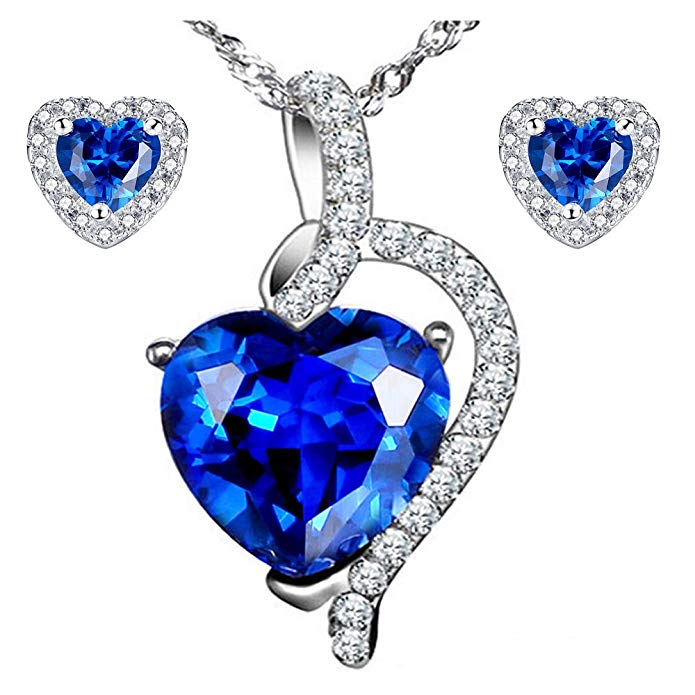 MABELLA 925 Sterling Silver Heart Jewelry Sets Simulated Birth Stone Pendant Earrings Set, Gifts for Women